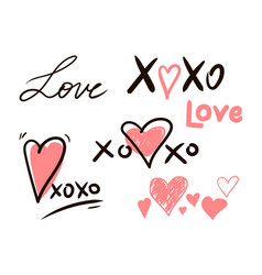 Hugs and kisses and love signs vector