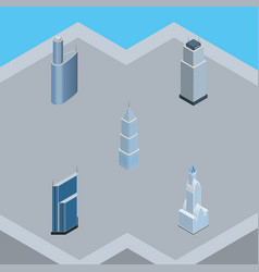 isometric construction set of cityscape exterior vector image