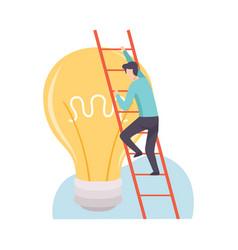 man climbing ladder to big burning light bulb vector image