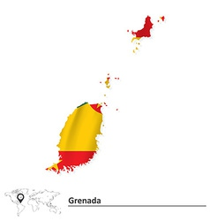 Map of Grenada with flag vector
