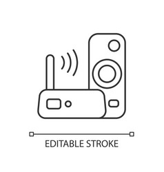 Media streaming device linear icon vector