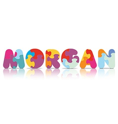 Morgan written with alphabet puzzle vector