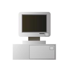 old retro pentium pc desktop with tft display vector image