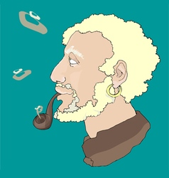 Old sailor smoking pipe vector