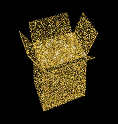 open gold gift box and confetti vector image