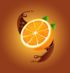 orange in chocolate splash realistic vector image