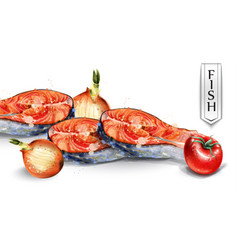 salmon and veggies watercolor fresh fish with vector image