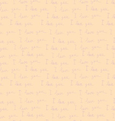 Seamless pattern of labels i love you vector