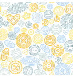 seamless pattern with cloth buttons in boho style vector image