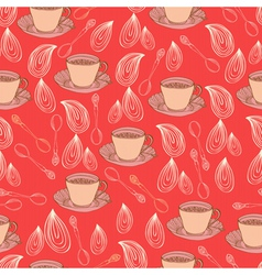 seamless pattern with cups and drops vector image