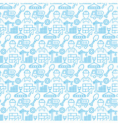 seamless pattern with icons construction items vector image