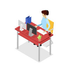 Secretary work on computer isometric 3d icon vector