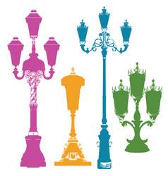 set of colorful street lanterns-5 vector image