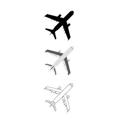 Set of flat airplane icon cartoon outline vector