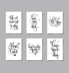 set of six hand lettering posters about dog and vector image