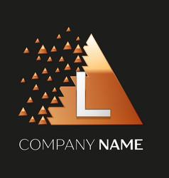 Silver letter l logo symbol in the triangle shape vector