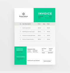 Simple green invoice template design vector
