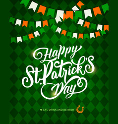 st patricks day greeting card with horseshoe vector image