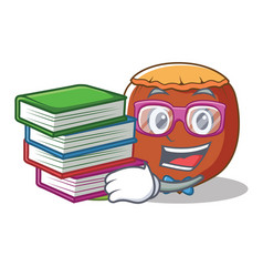 Student with book hazelnut mascot cartoon style vector
