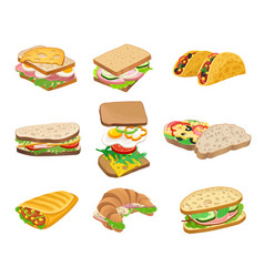 Subs and sandwiches with various ingredients vector