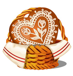 sweet glazed gingerbread in a wicker basket vector image