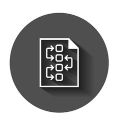 tactical plan document icon with long shadow vector image