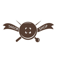 tailor shop pin needle and button isolated icon vector image
