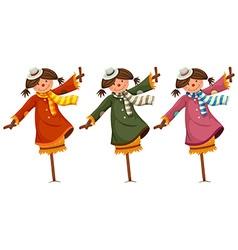 Three scarecrows in woman clothes vector image vector image