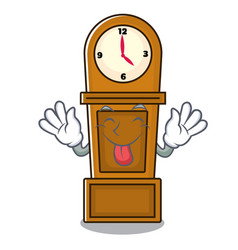 Tongue out grandfather clock mascot cartoon vector