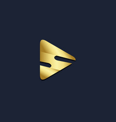 triangle s initial gold logo vector image