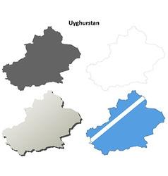 Uyghurstan outline map set - uyghur version vector