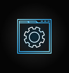 Web page with gear linear icon site vector