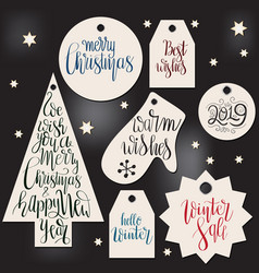 winter tags with christmas letterings vector image
