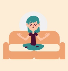 Zen Girl Meditating on Sofa vector