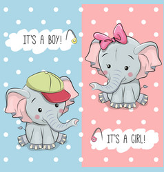 Baby shower greeting card with elephants vector