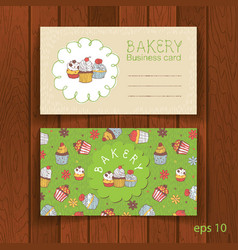 bakery business card with cupcakes vector image vector image