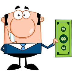 Business Man Holding A Dollar Bill vector image vector image