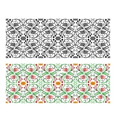 Light seamless floral handicraft painting border vector
