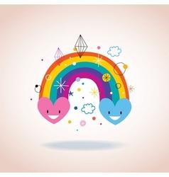 rainbow hearts vector image