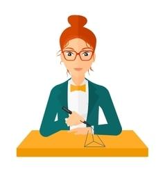 Woman using three D pen vector image vector image