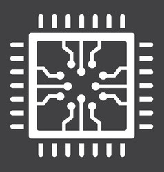 chip solid icon circuit board and cpu vector image