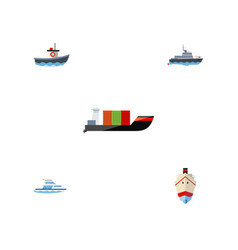flat icon vessel set of tanker delivery ship and vector image