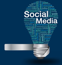 light bulb with social media concept of word cloud vector image vector image