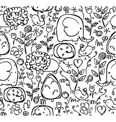 seamless cute pattern of flora and fauna vector image vector image