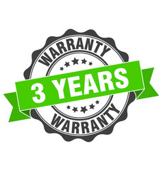 3 years warranty stamp sign seal vector image vector image