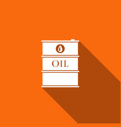 barrel oil flat icon with long shadow vector image vector image