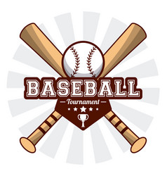 baseball sport tournament bats ball sticker image vector image