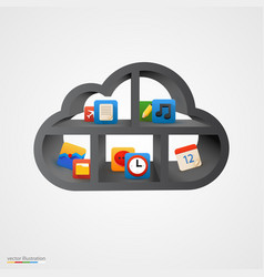 black cloud shelf with icons vector image