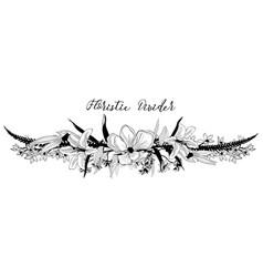 delicate floral text divider flower design vector image vector image