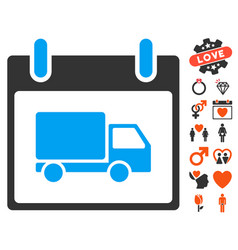 delivery car calendar day icon with lovely bonus vector image